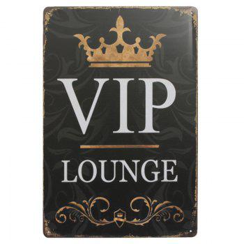 VIP Lounge Retro Style Metal Painting for Cafe Bar Restaurant Wall Decor - BLACK BLACK