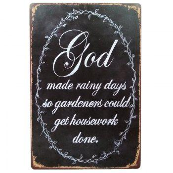 God English Proverbs Retro Style Metal Painting for  Wall Decor - BLACK BLACK