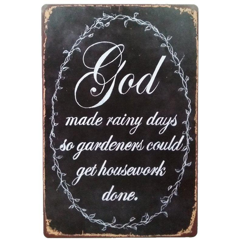 God English Proverbs Retro Style Metal Painting for  Wall Decor - BLACK