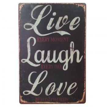 Live Laugh Love  Retro Style Metal Painting for Wall Decor - BLACK BLACK