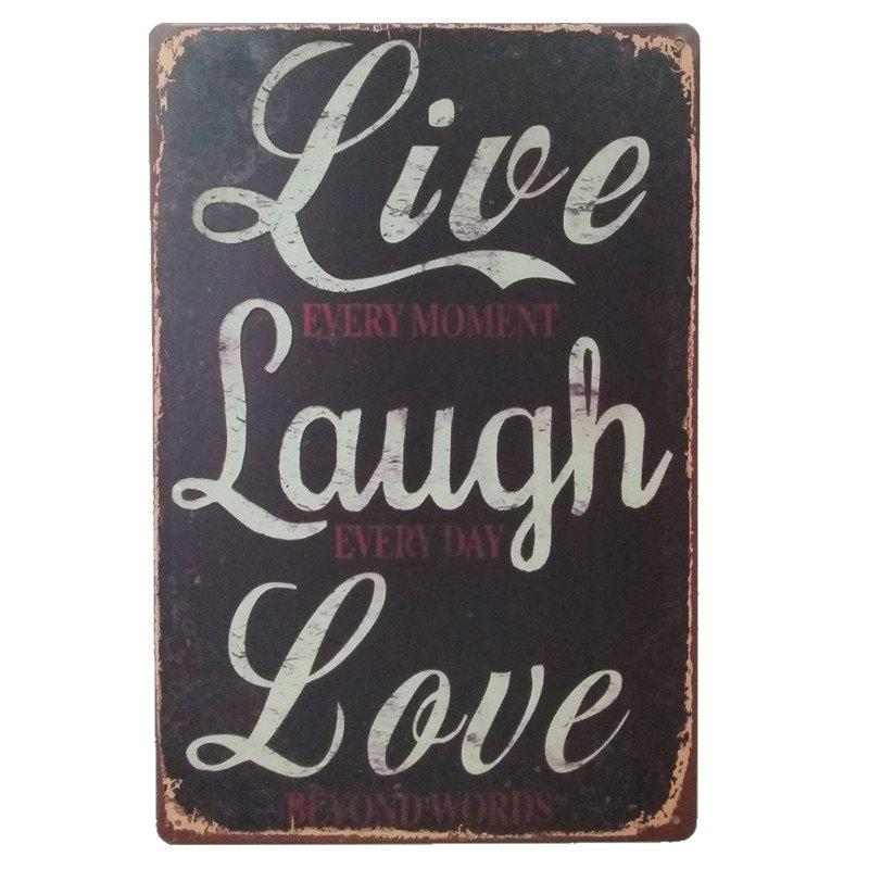 Live Laugh Love  Retro Style Metal Painting for Wall Decor - BLACK