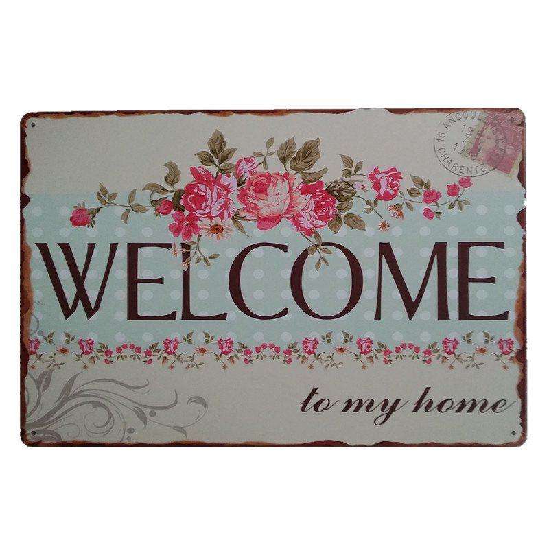 Welcome Sign Retro Style Metal Painting for Cafe Bar Restaurant Wall Decor - BLUE