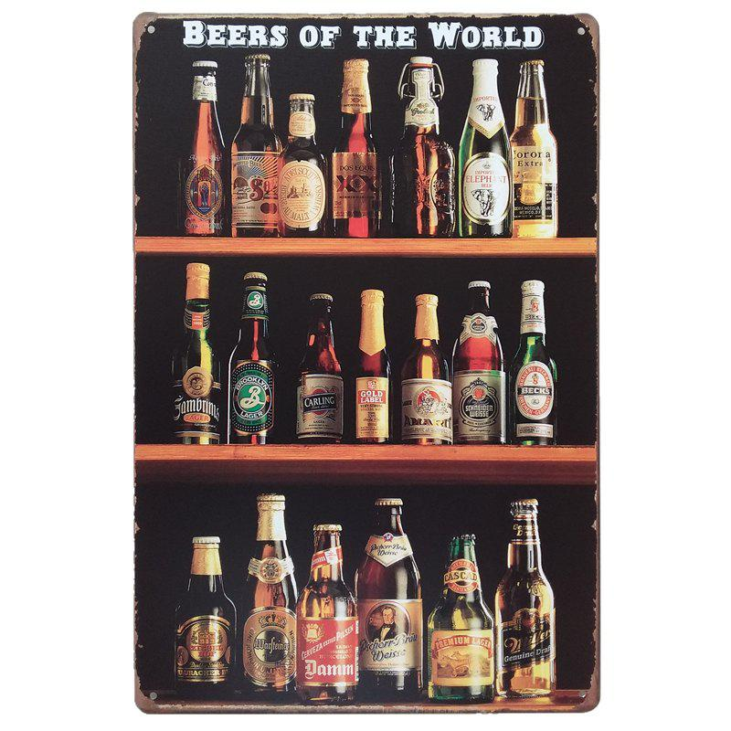 Beers of the World Vintage Style  Metal Painting for Cafe Bar Restaurant Wall Decor the wangs vs the world