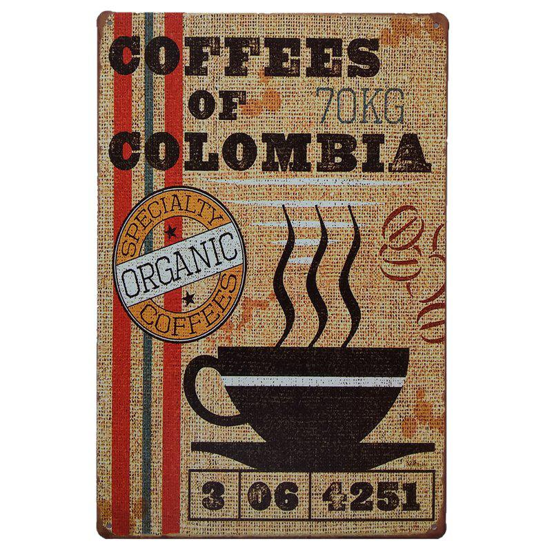 Creative Coffees of  Colombia Poster Metal Painting for Cafe Bar Restaurant Wall Decor 30 millennia of painting