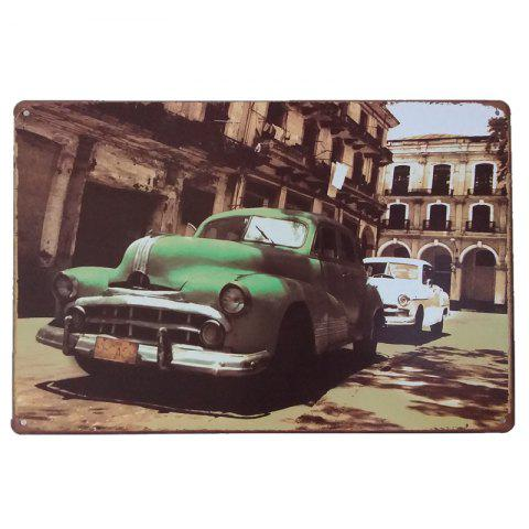 The Green Car Vintage Style Metal Painting for Cafe Bar Restaurant Wall Decor - COLORMIX