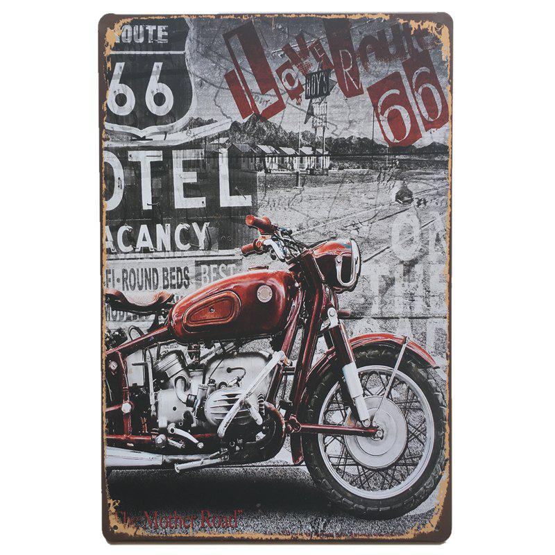 Motorcycle pattern vintage style metal painting for cafe bar restaurant wall decor colormix