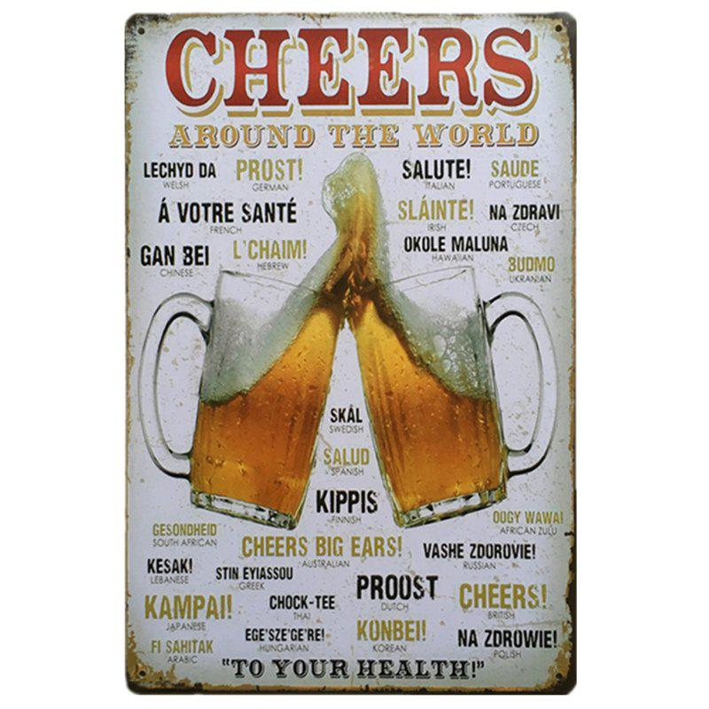 Cheers Vintage Style Metal Painting for Cafe Bar Restaurant Wall Decor - COLORMIX