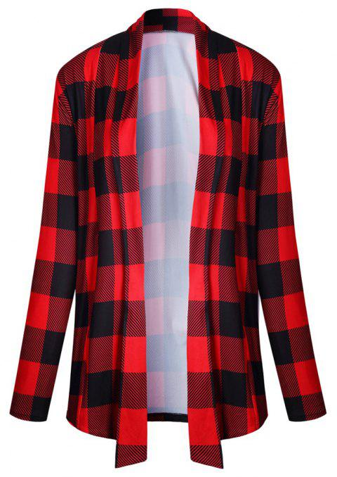 2017 New Autumn Style Plaid Tops Coat - RED L