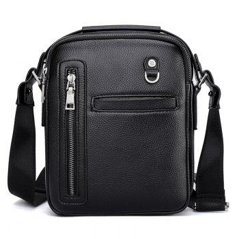 PU Leather Male Bag Wild Leisure Shoulder Messenger - BLACK BLACK