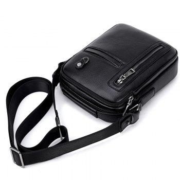 PU Leather Male Bag Wild Leisure Shoulder Messenger -  BLACK