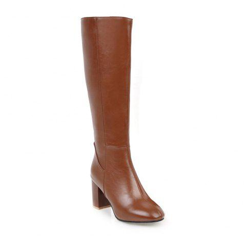 Simple Fashionable European Style Female Boots - BROWN 35