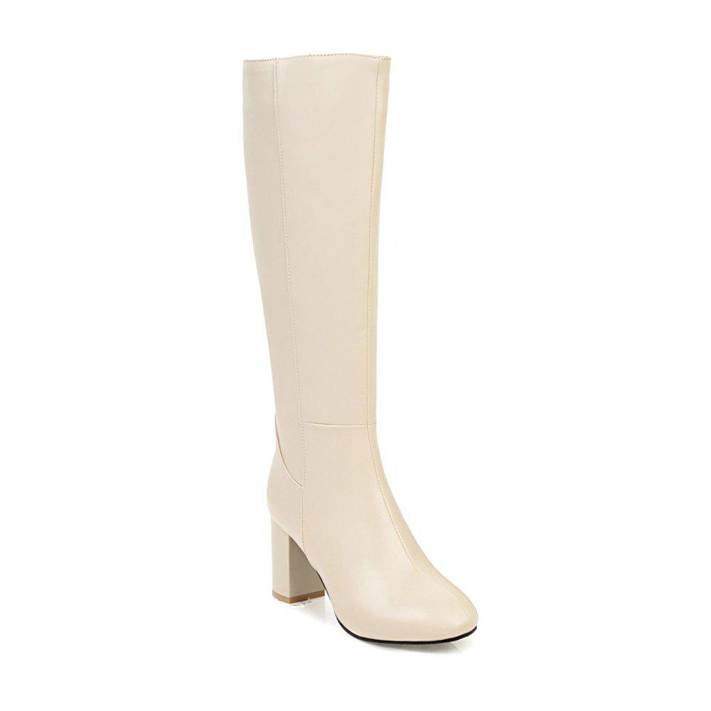 Simple Fashionable European Style Female Boots - BEIGE 35