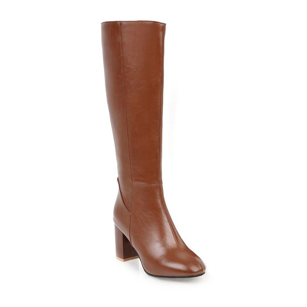 Simple Fashionable European Style Female Boots - BROWN 37