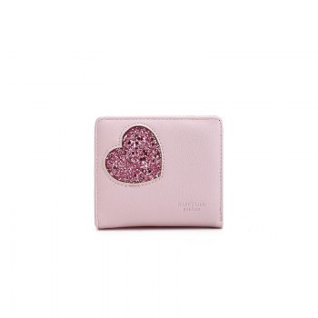 Blocking Small Compact PU Leather Pocket Wallet for Women - PINK PINK