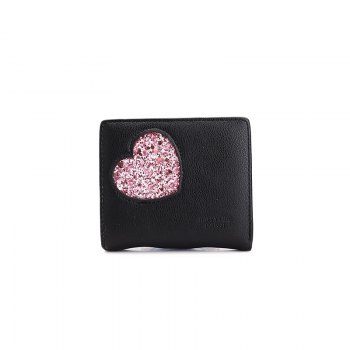 Blocking Small Compact PU Leather Pocket Wallet for Women - BLACK BLACK