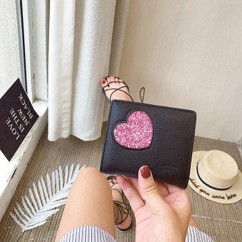 Blocking Small Compact PU Leather Pocket Wallet for Women -  BLACK