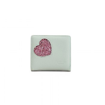 Blocking Small Compact PU Leather Pocket Wallet for Women - LIGHT BULE LIGHT BULE