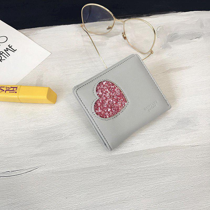 Blocking Small Compact PU Leather Pocket Wallet for Women - GRAY