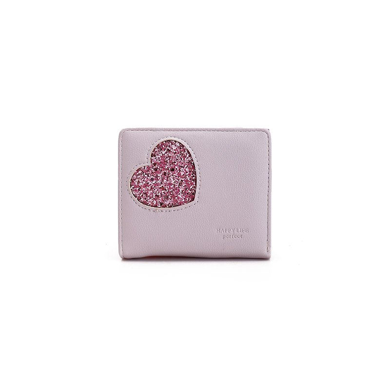 Blocking Small Compact PU Leather Pocket Wallet for Women - PURPLE