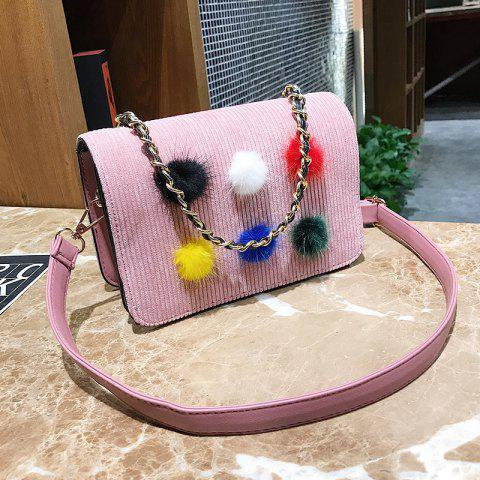 Simple Fashion Casual Crossbody Handbag with Pom - PINK