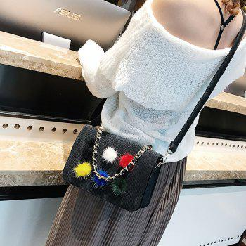 Simple Fashion Casual Crossbody Handbag with Pom - BLACK