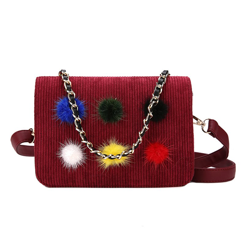 Simple Fashion Casual Crossbody Handbag with Pom - RED