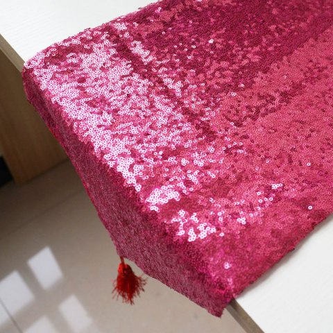 Lmdec 17YLP02 Sequin Table Runner - ROSE PINK