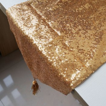 Lmdec 17YLP02 Sequin Table Runner - GOLDEN GOLDEN