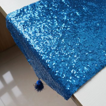 Lmdec 17YLP02 Sequin Table Runner - BLUE BLUE