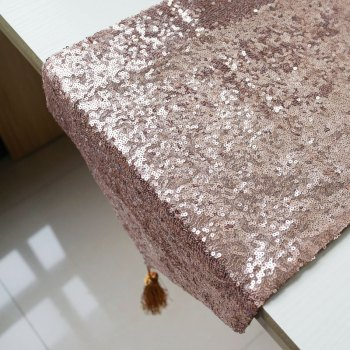 Lmdec 17YLP02 Sequin Table Runner - APRICOT APRICOT