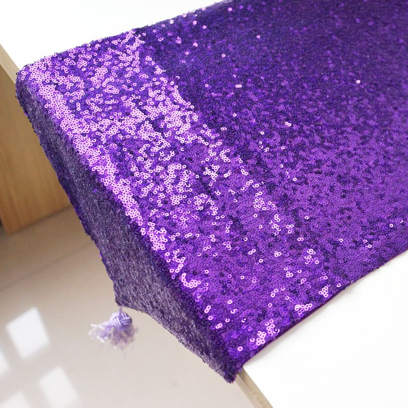 Lmdec 17YLP02 Sequin Table Runner - Pourpre