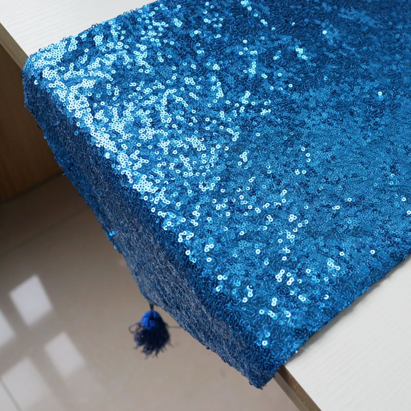 Lmdec 17YLP02 Sequin Table Runner - Bleu