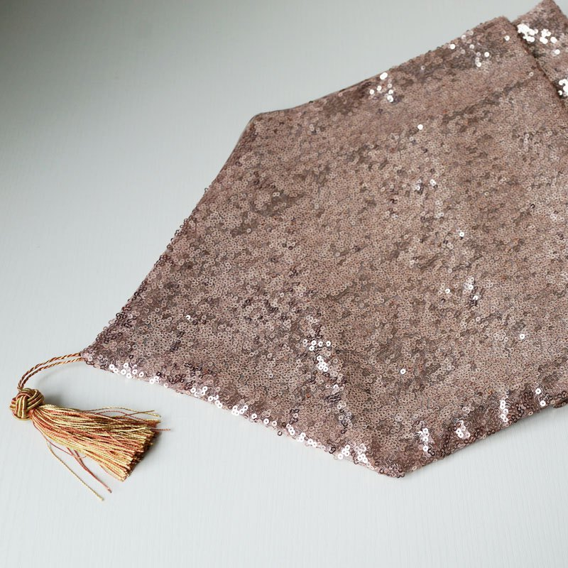 Lmdec 17YLP02 Sequin Table Runner - APRICOT