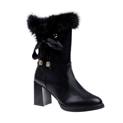 LF-A58 Leather Strap Tube Rough Thin High-heeled Boots Martin - BLACK 37