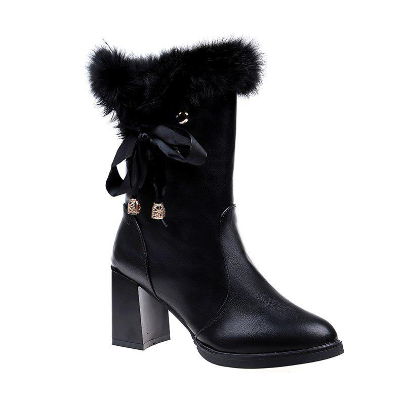 LF-A58 Leather Strap Tube Rough Thin High-heeled Boots Martin - BLACK 35