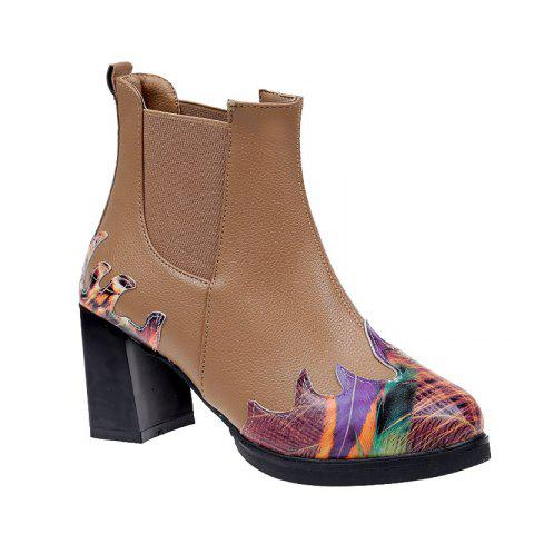 LF-A88 Set Foot All-match Fashion Color Printing Thick High-heeled Boots - KHAKI 37