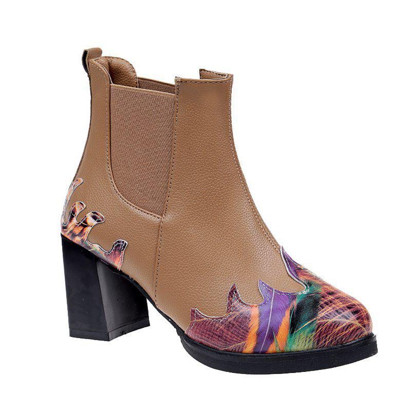 LF-A88 Set Foot All-match Fashion Color Printing Thick High-heeled Boots Martin - KHAKI 37