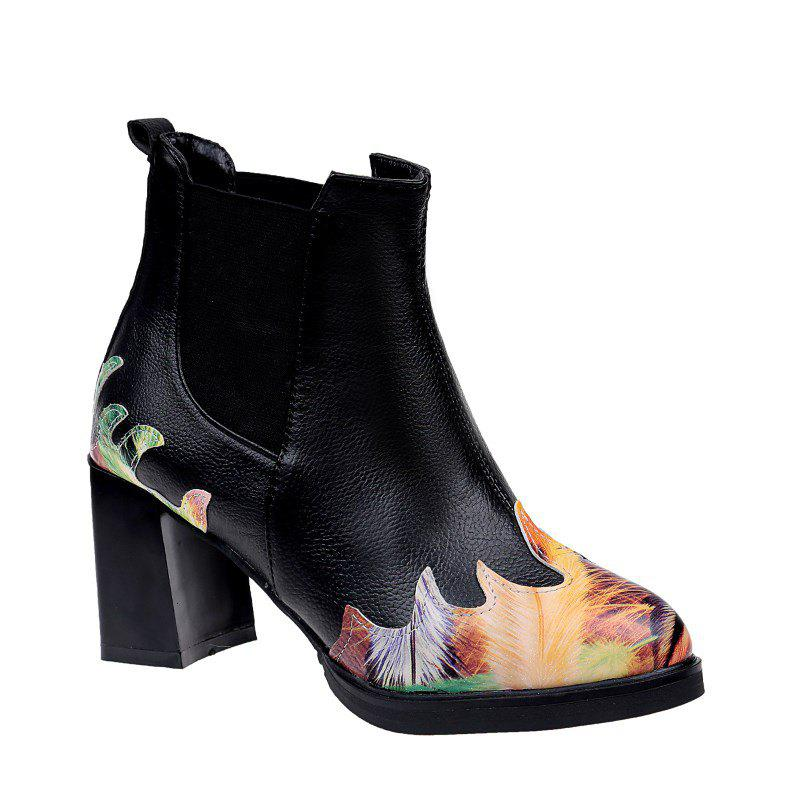 LF-A88 Set Foot All-match Fashion Color Printing Thick High-heeled Boots Martin - BLACK 36