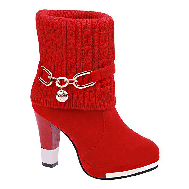 HSL-W-98 Round Sets Foot Mouth Wool Frosted All-match Thick Heeled Fashion Female Martin Boots - RED 40