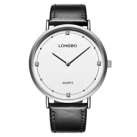 Longbo 5056 All-match Thin Leather Band Couple Watch - SILVER MALE