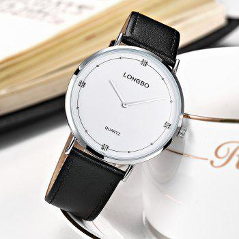 Longbo 5056 All-match Thin Leather Band Couple Watch - SILVER FEMALE
