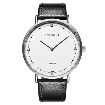 Longbo 5056 All-match Thin Leather Band Couple Watch - SILVER SILVER