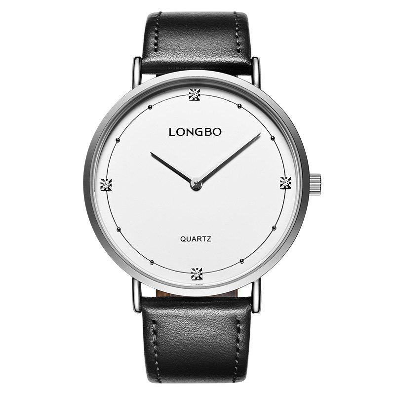 Longbo 5056 All-match en cuir mince Couple montre - SILVER FEMALE
