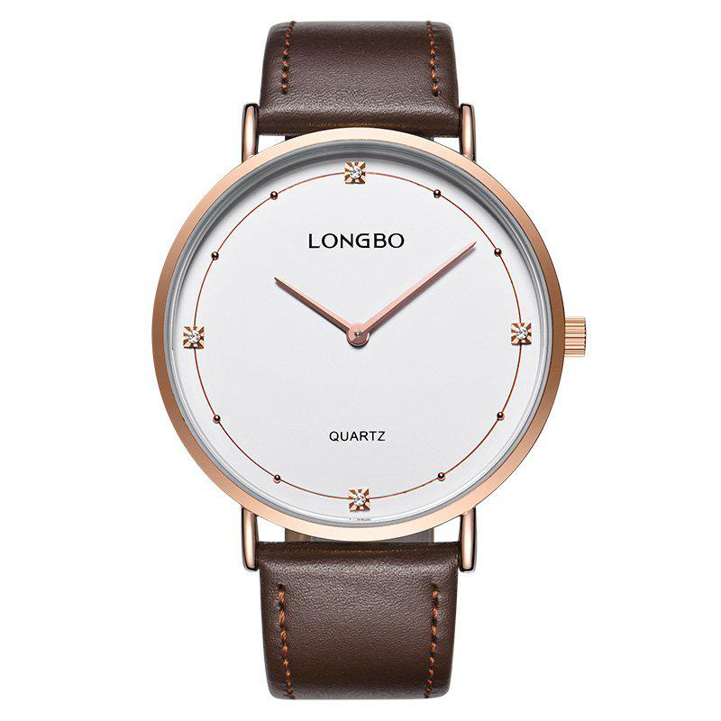 Longbo 5056 All-match Thin Leather Band Couple Watch - ROSE GOLD FEMALE