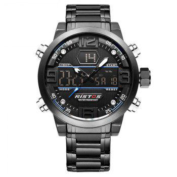 RISTOS 9338 Men Waterproof Steel Band Electronic Watch - BLUE BLUE