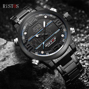 RISTOS 9338 Men Waterproof Steel Band Electronic Watch -  BLUE