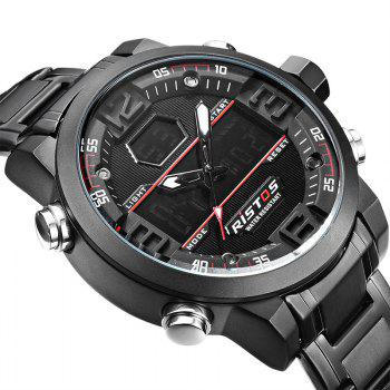 RISTOS 9338 Men Waterproof Steel Band Electronic Watch -  BLACK