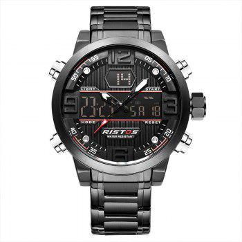 RISTOS 9338 Men Waterproof Steel Band Electronic Watch - BLACK BLACK