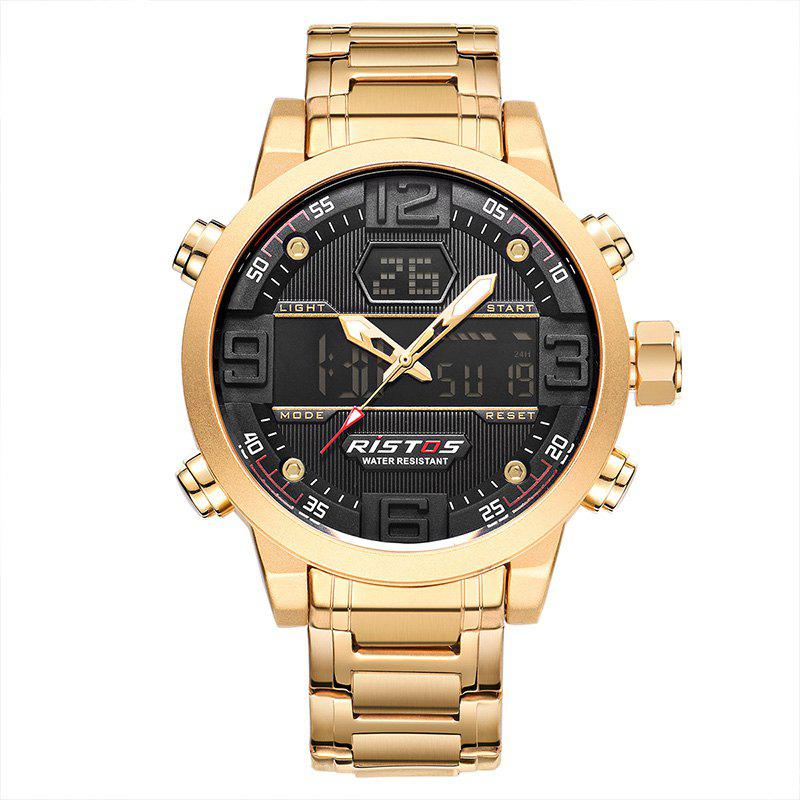 RISTOS 9338 Men Waterproof Steel Band Electronic Watch - GOLDEN