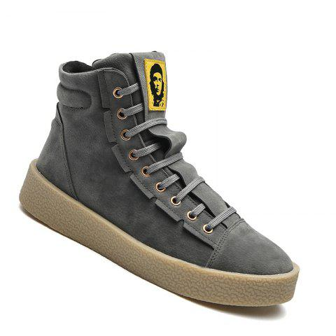 Men Casual Outdoor New Winter Autumn Fashion Suede Surface Ankle Leather Boots - GRAY 43